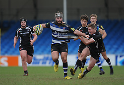 Bath's Will Vaughan goes into contact.  - Mandatory byline: Alex Davidson/JMP - 07966386802 - 30/01/2016 - RUGBY - Sandy Park -Exeter,England - Exeter Chiefs u18's v Bath Rugby u18's - U18 League