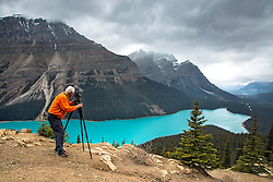 Photographer Jim Osterhout capturing the magic of Peyto Lake in Banff National Park