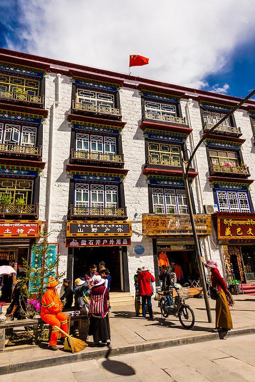Building exterior, Old Lhasa, Tibet (Xizang), China.