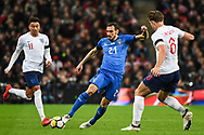 Italy Defender Davide Zappacosta (21) and England Defender James Tarkowski (6) battle for the ball during the Friendly match between England and Italy at Wembley Stadium, London, England on 27 March 2018. Picture by Stephen Wright.