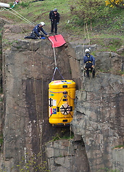 Nick Hancock tests his RockPod over the cliff edge at Ratho EICA, in a final Rockall Solo test run for his unique 60 day endurance expedition on Rockall..© Michael Schofield..