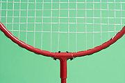 extreme close up of a badminton racket