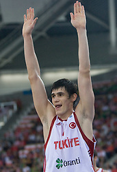 Ersan Ilyasova of Turkey during the EuroBasket 2009 Group F match between Spain and Turkey, on September 12, 2009 in Arena Lodz, Hala Sportowa, Lodz, Poland.  (Photo by Vid Ponikvar / Sportida)