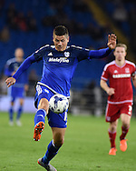 Alex Revell of Cardiff city in action. Skybet football league championship match, Cardiff city v Middlesbrough at the Cardiff city Stadium in Cardiff, South Wales  on Tuesday 20th October 2015.<br /> pic by  Andrew Orchard, Andrew Orchard sports photography.