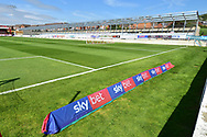 Accrington Stanley's new stand takes shape during the EFL Sky Bet League 1 match between Accrington Stanley and Scunthorpe United at the Fraser Eagle Stadium, Accrington, England on 1 September 2018.