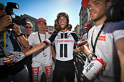 July 18, 2017 - Romans-Sur-Isere, FRANCE - Australian Michael Matthews of Team Sunweb celebrates after winning the sixteenth stage of the 104th edition of the Tour de France cycling race, 165km from Le Puy-en-Velay to Romans-sur-Isere, France, Tuesday 18 July 2017. This year's Tour de France takes place from July first to July 23rd. BELGA PHOTO DAVID STOCKMAN (Credit Image: © David Stockman/Belga via ZUMA Press)