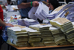 May 25, 2019 - Dublin, Ireland - Ballots are counted in the European Parliament elections and the referendum on Ireland's divorce laws at the RDS in Dublin..On Saturday, May 25, 2019, in Ranelagh, Dublin, Ireland. (Credit Image: © Artur Widak/NurPhoto via ZUMA Press)