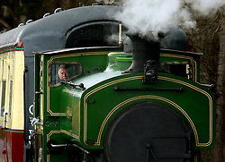 """Review of the Year 2017: April: The Prince of Wales, known as the Duke of Rothesay while in Scotland, drives the steam train """"Salmon"""" during his visit to the Royal Deeside Railway in Banchory."""