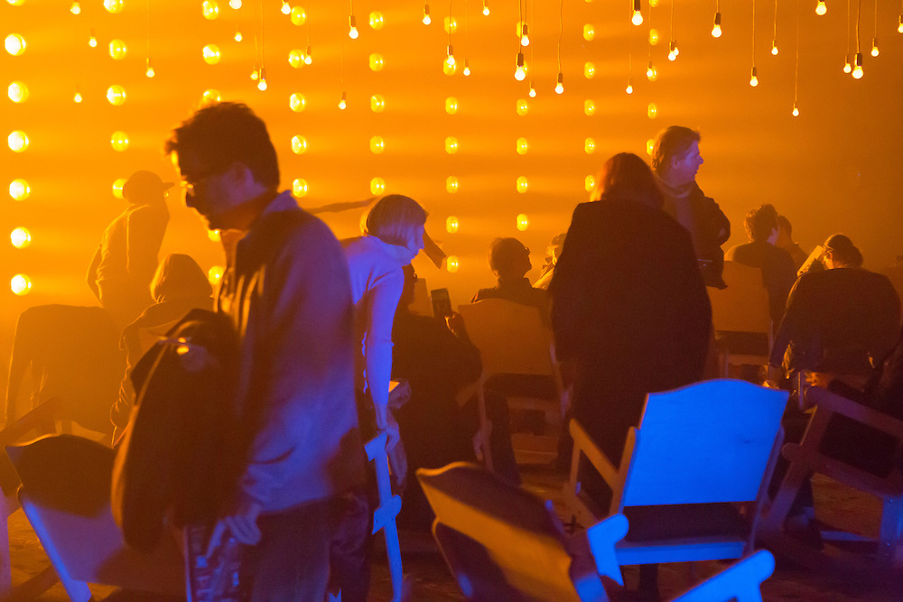 """The audience takes their seats at Samuel Beckett's """"All That Fall"""" in the Fishman Space at the Brooklyn Academy of Music. The set and lighting design was by Aedin Cosgrove."""