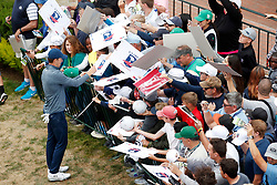 June 12, 2019 - Pebble Beach, CA, U.S. - PEBBLE BEACH, CA - JUNE 12: PGA golfer Jordan Spieth signs autographs after finishing the 18th hole during a practice round for the 2019 US Open on June 12, 2019, at Pebble Beach Golf Links in Pebble Beach, CA. (Photo by Brian Spurlock/Icon Sportswire) (Credit Image: © Brian Spurlock/Icon SMI via ZUMA Press)