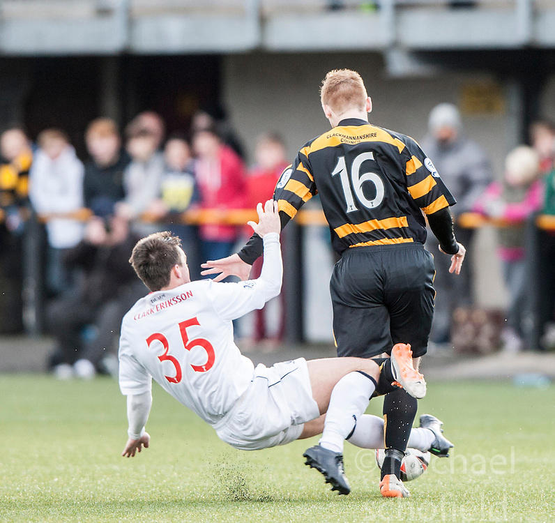 Falkirk's Mark Millar tackles Alloa Athletic's Iain Flannigan.<br /> Alloa Athletic 3 v 0 Falkirk, Scottish Championship game played today at Alloa Athletic's home ground, Recreation Park.<br /> © Michael Schofield.