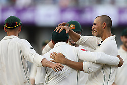 August 28, 2017 - Mirpur, Bangladesh - Australia's Ashton Agar, right, celebrate with his teammates after the dismissal of Bangladesh's Soumya Sarkar  during day two of the First Test match between Bangladesh and Australia at Shere Bangla National Stadium on August 28, 2017 in Mirpur, Bangladesh. (Credit Image: © Ahmed Salahuddin/NurPhoto via ZUMA Press)