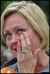 August 21, 2017 - London, London, United Kingdom - Image ©Licensed to i-Images Picture Agency. 21/08/2017. London, United Kingdom. Big Ben to fall silent for four years...An emotional woman in The Parliament Square came to see Big Ben bongs sound for final time for four years. The Great Clock of the Elizabeth Tower commonly referred to as Big Ben, near the Houses of Parliament in central London fall's silent for four years from noon on Monday 21 August 2017. This is for a £29m conservation project that includes repair of the Tower, which houses the Great Clock and its bell...Picture by Dinendra Haria / i-Images (Credit Image: © Dinendra Haria/i-Images via ZUMA Press)