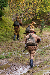Reenactors Portaying members of the Soviet Red Army take part in a private battle on Ellington Banks training area Near Ripon<br /> 09 October2021<br /> <br /> www.pauldaviddrabble.co.uk<br /> All Images Copyright Paul David Drabble - <br /> All rights Reserved - <br /> Moral Rights Asserted -