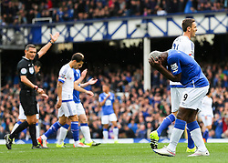Everton's Arouna Kone reacts after his shot is saved - Mandatory byline: Matt McNulty/JMP - 07966386802 - 12/09/2015 - FOOTBALL - Goodison Park -Everton,England - Everton v Chelsea - Barclays Premier League