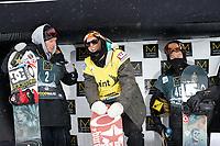 Snowboard<br /> FIS World Cup<br /> Copper Mountain USA<br /> 21.11.2012<br /> Foto: Gepa/Digitalsport<br /> NORWAY ONLY<br /> <br /> FIS Weltcup, Slopestyle, Herren, Siegerehrung. Bild zeigt Torstein Horgmo (NOR), Ståle Sandbech (NOR) und Shaun White (USA).