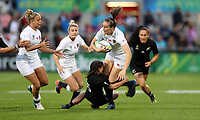 Rugby Union - 2017 Women's Rugby World Cup (WRWC) - Final: New Zealand vs. England<br /> <br /> Emily Scarratt of England is tackled by Portia Woodman and Charmaine McMenamin of New Zealand at Kingspan Stadium, Belfast.<br /> <br /> COLORSPORT/LYNNE CAMERON