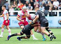 Rugby Union - 2021 / 2022 Gallagher Premiership - Round One  - Newcastle Falcons vs Harlequins - Kingston Park - Sunday 19th September 2021<br /> <br /> Jack Walker of Harlequins is tackled by Marco Fuser of Newcastle Falcons and Jamie Blamire of Newcastle Falcons<br /> <br /> Credit: COLORSPORT/Bruce White