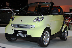 06 February 2005:    FourTwo alternative fuel vehicle by Smart cars.<br /> <br /> First staged in 1901, the Chicago Auto Show is the largest auto show in North America and has been held more times than any other auto exposition on the continent.  It has been  presented by the Chicago Automobile Trade Association (CATA) since 1935.  It is held at McCormick Place, Chicago Illinois