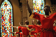 """Chicago Catholic Schools liturgical dancers celebrate the 33rd Annual African American Heritage Month Eucharistic Celebration at Holy Name Cathedral. This year's mass celebrates the the Nguzo Saba principle of Kuumba, or """"creativity"""" at Holy Name Cathedral."""