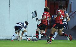 Bristol Rugby's Matthew Morgan scores a try - Photo mandatory by-line: Dougie Allward/JMP - Mobile: 07966 386802 - 17/04/2015 - SPORT - Rugby - Bristol - Ashton Gate - Bristol Rugby v Jersey - Greene King IPA Championship