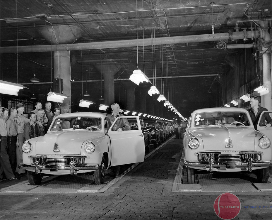 1947 Studebaker Champions reach the end of the assembly line.