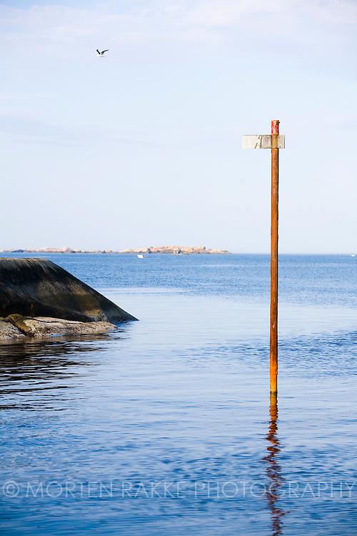 Boat sign in water, Larvik, Norway