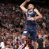 15 July 2012: Nicolas Batum of Team France goes for the dunk during a pre-Olympic exhibition game won 75-70 by Spain over France, at the Palais Omnisports de Paris Bercy, in Paris, France.