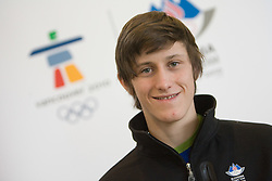Slovenian ski jumper Peter Prevc at arrival to Airport Joze Pucnik from Vancouver after Winter Olympic games 2010, on February 24, 2010 in Brnik, Slovenia. (Photo by Vid Ponikvar / Sportida)