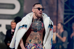 July 13, 2017 - Brooklyn, New York, USA - CONOR MCGREGOR walks onto the stage for a press conference with Floyd Mayweather at the Barclays Center in Brooklyn. (Credit Image: © Joel Plummer via ZUMA Wire)