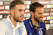 England midfielder Jordan Henderson and interim Manager Gareth Southgate during the England Team Media Conference ahead of England v Scotland, at St George's Park National Football Centre, Burton-Upon-Trent, United Kingdom on 10 November 2016. Photo by Aaron  Lupton.