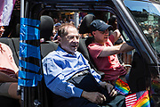 New York, NY - 30 June 2019. The New York City Heritage of Pride March filled Fifth Avenue for hours with participants from the LGBTQ community and it's supporters. Jerry Nadler, U. S. Reprsentative for New York's 10th District, rides in the march.