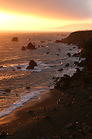 Bodega Bay is a shallow, rocky inlet of the Pacific Ocean on the coast of northern California in the United States. The bay straddles the boundary between Sonoma County to the north and Marin County to the south.<br /> Bodega Bay is protected on its north end from the Pacific Ocean by Bodega Head, which shelters the small Bodega Harbor and is separated from the main bay by a jetty. The San Andreas Fault runs parallel to the coastline and bisects Bodega Head, which lies on the Pacific Plate; whereas the town is on the North American Plate. The village of Bodega Bay sits on the east side of Bodega Harbor.