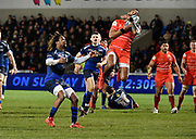 Leicester Tigers full back Telusa Veainu catches a high ball under pressure from Sale Sharks wing Marland Yarde during a Gallagher Premiership Rugby Union match Sale Sharks -V- Leicester Tigers, Sale won the match 36-3 on Friday, Feb. 21, 2020, in Eccles, United Kingdom. (Steve Flynn/Image of Sport via AP)