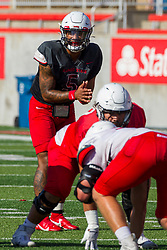 NORMAL, IL - August 14: Bryce Jefferson during a college football pre-season scrimmage of the  ISU (Illinois State University) Redbirds August 14 2021 at Hancock Stadium in Normal, IL. (Photo by Alan Look)