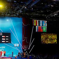 Medal winners of the 69 kg weightlifting competition (Gold) Lin Qingfeng, (Silver) Triyatno Triyatno, (Bronze) Martin Razvan Razvan Constantin during the 2012 London Summer Olympics.