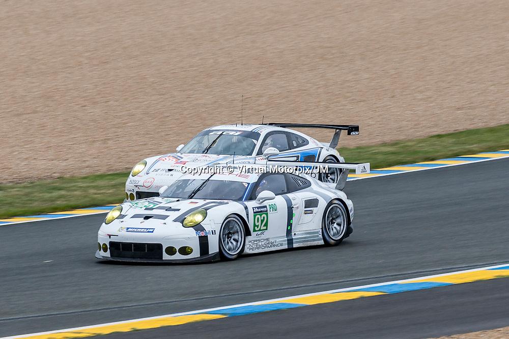 #92 Porsche 911 RSR, Porsche Team Manthey  driven by Patrick Pilet,  Frederic Makowiecki, Wolf Henzler, Le Mans 24hr 2015,  Test Day