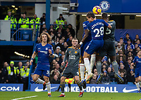 Football - 2018 / 2019 Premier League - Chelsea vs. Leicester City<br /> <br /> Wes Morgan (Leicester City) rises to head the corner at Stamford Bridge <br /> <br /> COLORSPORT/DANIEL BEARHAM