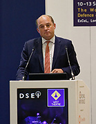 London, United Kingdom - 11 September 2019<br /> The Rt Hon Ben Wallace MP. Secretary of State for Defence for the UK Government presents keynote address speech to audience at DSEI 2019 security, defence and arms fair at ExCeL London exhibition centre.<br /> (photo by: EQUINOXFEATURES.COM)<br /> Picture Data:<br /> Photographer: Equinox Features<br /> Copyright: ©2019 Equinox Licensing Ltd. +443700 780000<br /> Contact: Equinox Features<br /> Date Taken: 20190911<br /> Time Taken: 12511400<br /> www.newspics.com
