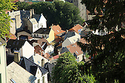 Roofs of historic houses clustered together in city centre of Bergen, Norway