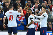 Goal - Raheem Sterling of England celebrates scoring his hat-trick goal to give a 4-0 lead to the home team with Declan Rice of England during the UEFA European 2020 Qualifier match between England and Czech Republic at Wembley Stadium, London, England on 22 March 2019.