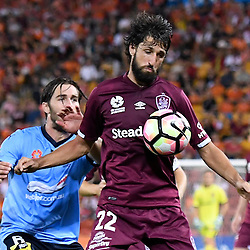BRISBANE, AUSTRALIA - NOVEMBER 19: Thomas Broich of the Roar and Joshua Brillante of Sydney compete for the ball during the round 7 Hyundai A-League match between the Brisbane Roar and Sydney FC at Suncorp Stadium on November 19, 2016 in Brisbane, Australia. (Photo by Patrick Kearney/Brisbane Roar)