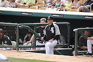 GLENDALE, AZ - MARCH 05:  Manager Robin Ventura #23 of the Chicago White Sox looks on against the Los Angeles Dodgers on March 5, 2012 at The Ballpark at Camelback Ranch in Glendale, Arizona. The Dodgers defeated the White Sox 6-4.  (Photo by Ron Vesely)  Subject:  Robin Ventura