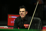 Ronnie O'Sullivan (Eng) reacts in his chair. Ronnie O'Sullivan (Eng) v Neil Robertson (Aus), Quarter-Final match at the Dafabet Masters Snooker 2017, at Alexandra Palace in London on Thursday 19th January 2017.<br /> pic by John Patrick Fletcher, Andrew Orchard sports photography.