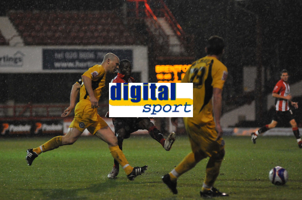 Photo: Tony Oudot/Richard Lane Photography. Brentford v Rochdale. Coca-Cola Football League Two. 01/11/2008. <br /> Marvin Williams of Brentford shoots through the Rochdale defence