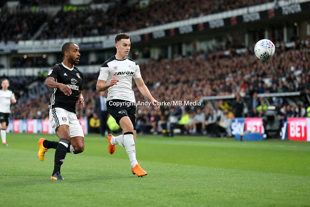 DERBY, ENGLAND - MAY 11: - DCFC vs Fulham. Tom Lawrence, in a chase for the ball