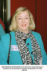 MRS MONICA McWILLIAMS of the Northern Ireland Women's Coalition, at a luncheon in London on October 7th 1996.          LSO 10