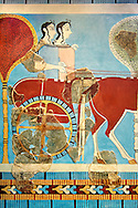 Mycenaean Fresco wall painting of a chariot from the Tiryns, Greece. 14th - 13th Century BC. Athens Archaeological Museum. .<br /> <br /> If you prefer to buy from our ALAMY PHOTO LIBRARY  Collection visit : https://www.alamy.com/portfolio/paul-williams-funkystock/mycenaean-art-artefacts.html . Type -   Athens    - into the LOWER SEARCH WITHIN GALLERY box. Refine search by adding background colour, place, museum etc<br /> <br /> Visit our MYCENAEN ART PHOTO COLLECTIONS for more photos to download  as wall art prints https://funkystock.photoshelter.com/gallery-collection/Pictures-Images-of-Ancient-Mycenaean-Art-Artefacts-Archaeology-Sites/C0000xRC5WLQcbhQ