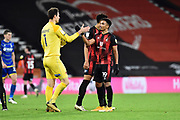 Junior Stanislas (19) of AFC Bournemouth celebrates the 2-0 win with Asmir Begovic (1) of AFC Bournemouth at full time during the EFL Sky Bet Championship match between Bournemouth and Nottingham Forest at the Vitality Stadium, Bournemouth, England on 24 November 2020.
