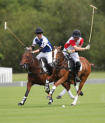 The Duke of Cambridge and Duke of Sussex play polo in the Khun Vichai Srivaddhanaprabha Memorial Polo Trophy during the King Power Royal Charity Polo Day at Billingbear Polo Club, Wokingham, Berkshire.